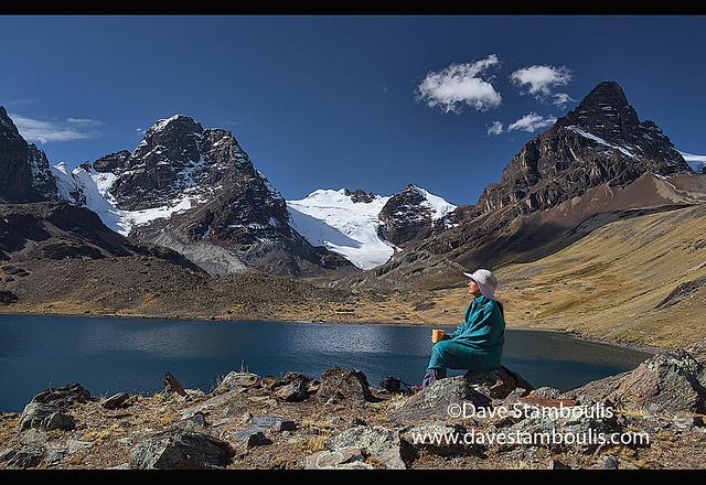 Enjoying the alpine scenery at Chiar Khota Lake on the Cordillera Real Traverse, Bolivia