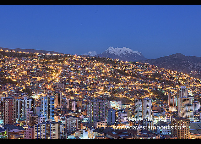 Blue hour, with Illimani towering over the density of La Paz, Bolivia