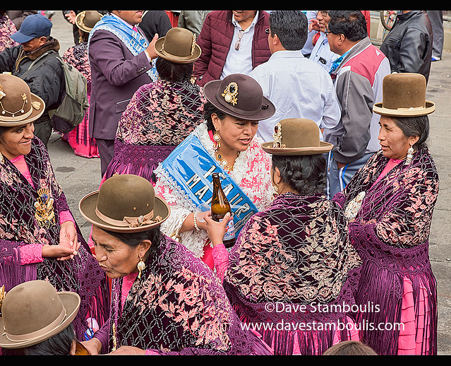 Cholitas enjoying themselves at the Gran Poder Festival, La Paz, Bolivia