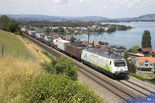 Re 465 008 + Re 4-4 190 BLS Cargo .  Einigen . 18.07.19.