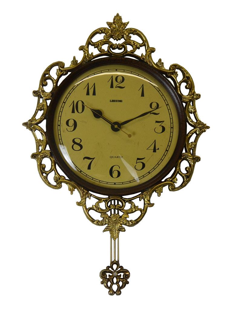 Ornate Antique Gold Wall Clock w/ Pendulum