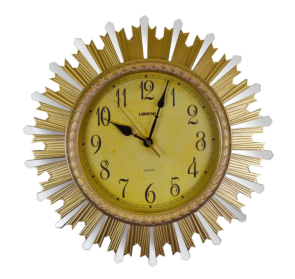 Sun Burst Gold Mirror Wall Clock Luxurious & High End
