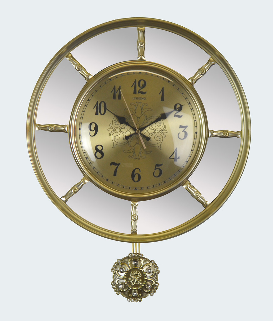 Luxurious Gold & Mirror Wall Clock