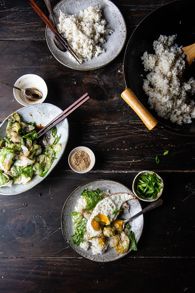 ginger fried rice with stir-fried lettuce and egg