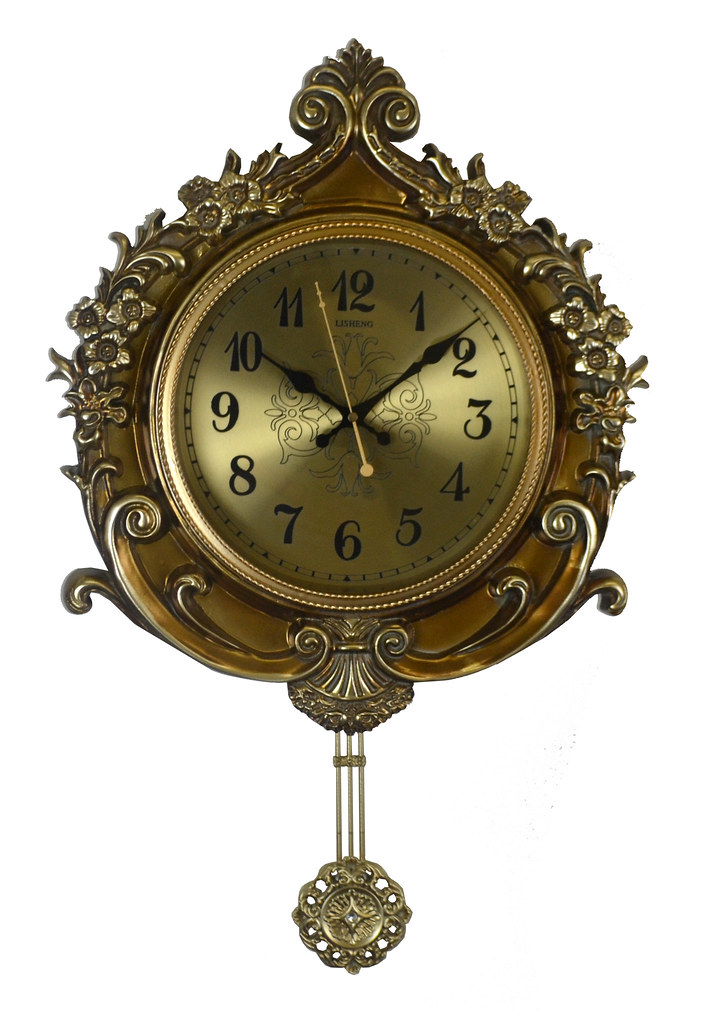 Gold Wall Clock Flower Carvings w/ Ornate Pendulum