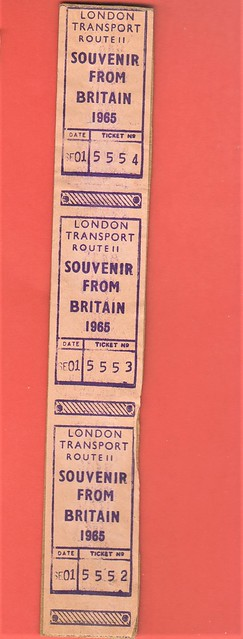 London transport Gibson bus ticket issued in Ohio on RML2262 1965.