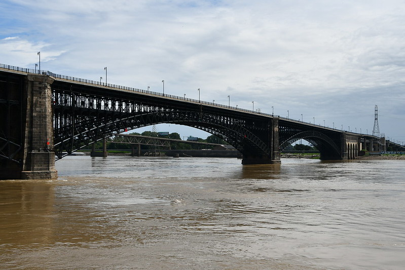 The Eads Bridge across the Mississippi.  This is the oldest bridge over the Mississippi and was designed and built as one of the first steel bridge structures.