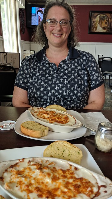 Katherine with Fettuccine Alfredo at Turtlelini's, Horse Cave, KY