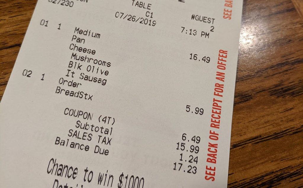 Pizza Hut bill