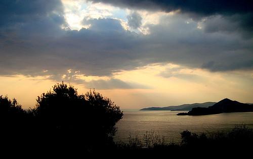 svetistefan monténégro crnagora sky clouds sunset sea adratico černáhora karadağ svartfjallaland budva sonyflickraward worldtrekker
