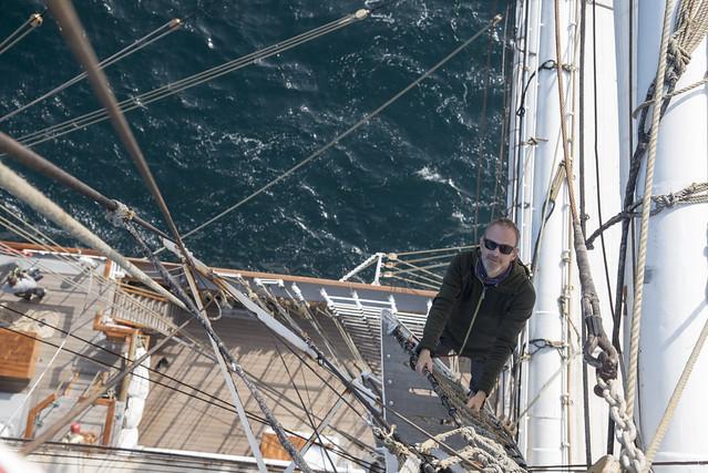 Climbing the rigging, Christian Radich