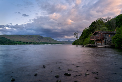 sky water cloud river highland sea waterresources ocean lake shore coast loch house landscape boathouse mountain bank hill vacation bay watercourse lakedistrict inlet cumulus reservoir ullswater uk