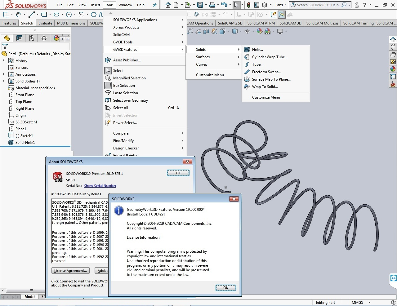 Download GeometryWorks 3D Features V19.0.4 for SolidWorks 2019 full
