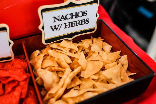 Close up of crispy nachos with special herbs