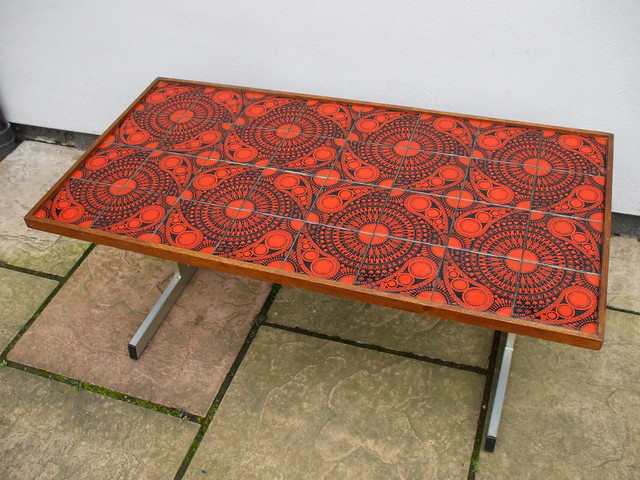 Vintage 1960's 70's Orange & Black Pop Art Tiled Coffee Table Charity / Thrift Shop Find