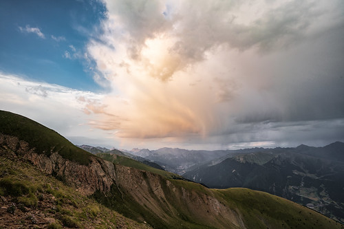 andorra landscape pyrenees rainy cloudy clouds sky sunset mountains