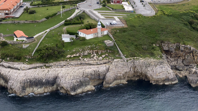 Suances lighthouse - Cantabria Spain aerial image