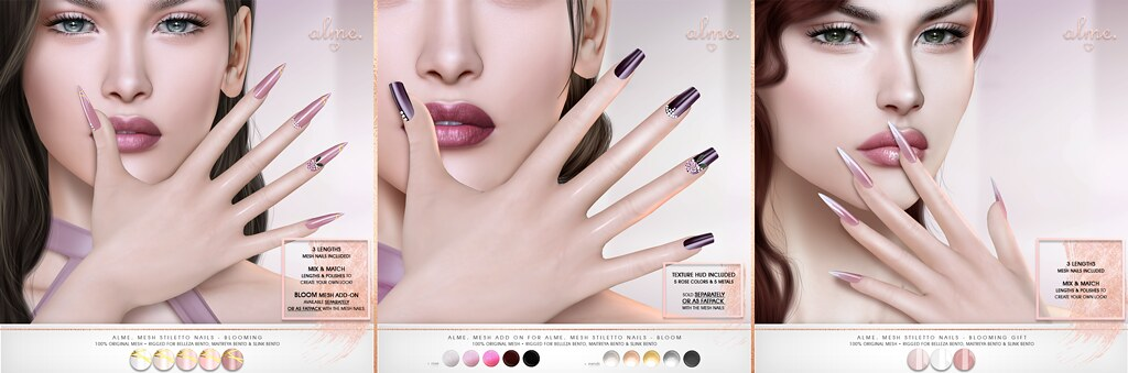 "Alme for Uber-""Alme Mesh Stiletto nails & Add On//Bloom"" ♥"