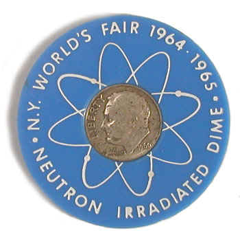 Irradiated dime Worlds Fair blue holder obverse