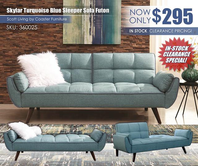 Turquoise Blue Sleeper Sofa Futon_360025_UpdatedClearanceNew