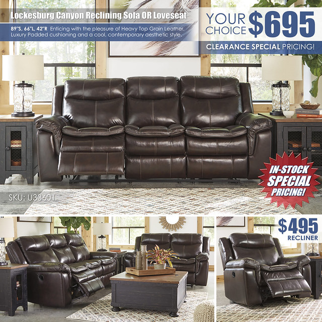 Lockesburg Canyon Reclining Sofa OR Loveseat_U33601_Clearance