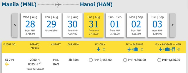 Manila to Hanoi with Cebu Pacific