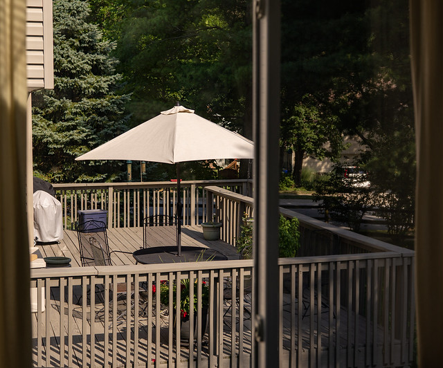 Deck table and umbrella