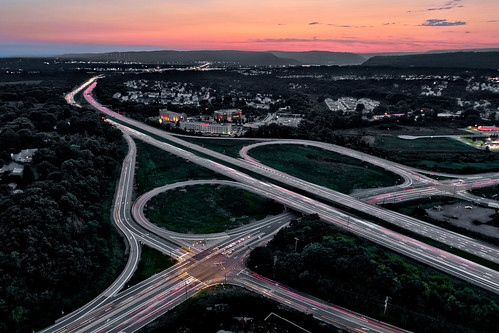 rt 81 highway harrisburg pa pennsylvania twilight aerial drone sunset