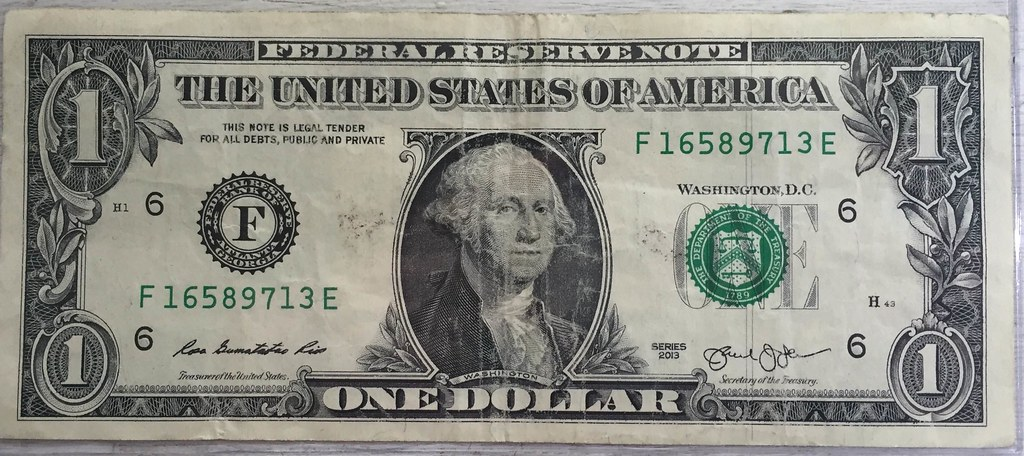 Dollar bill with vertical lines at right