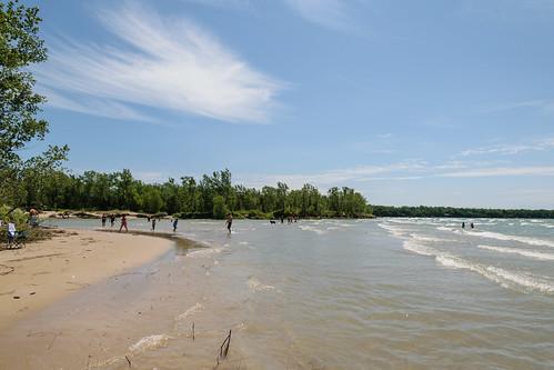 campersbeach lakeontario sandbanksprovincialpark beach highwater landscape nature shore summer water waves