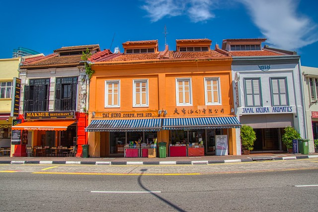 Vibrant traditional shop houses on North Bridge Road in Arab Street area of Singapore