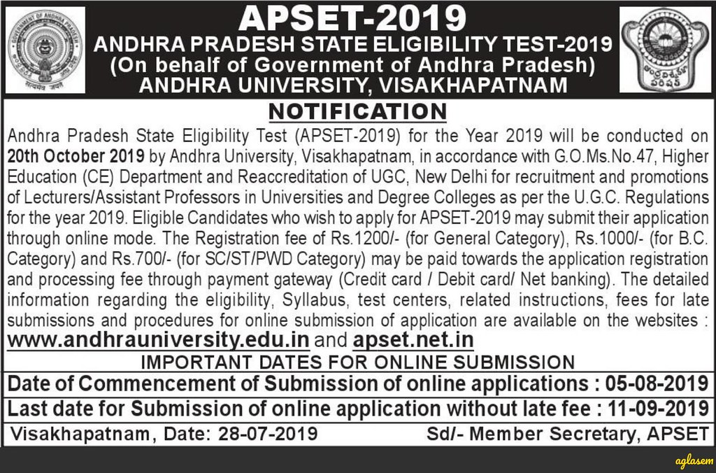 APSET 2019 Notification