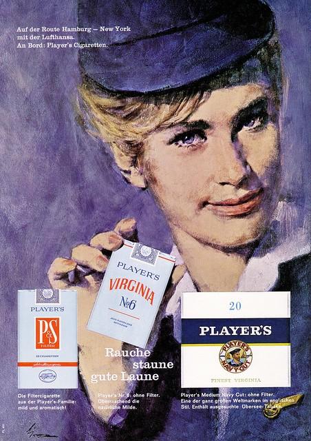 Virginia Players (1964) Zigaretten P&S  Virginia No. 6  Medium Navy Cut - LUFTHANSA
