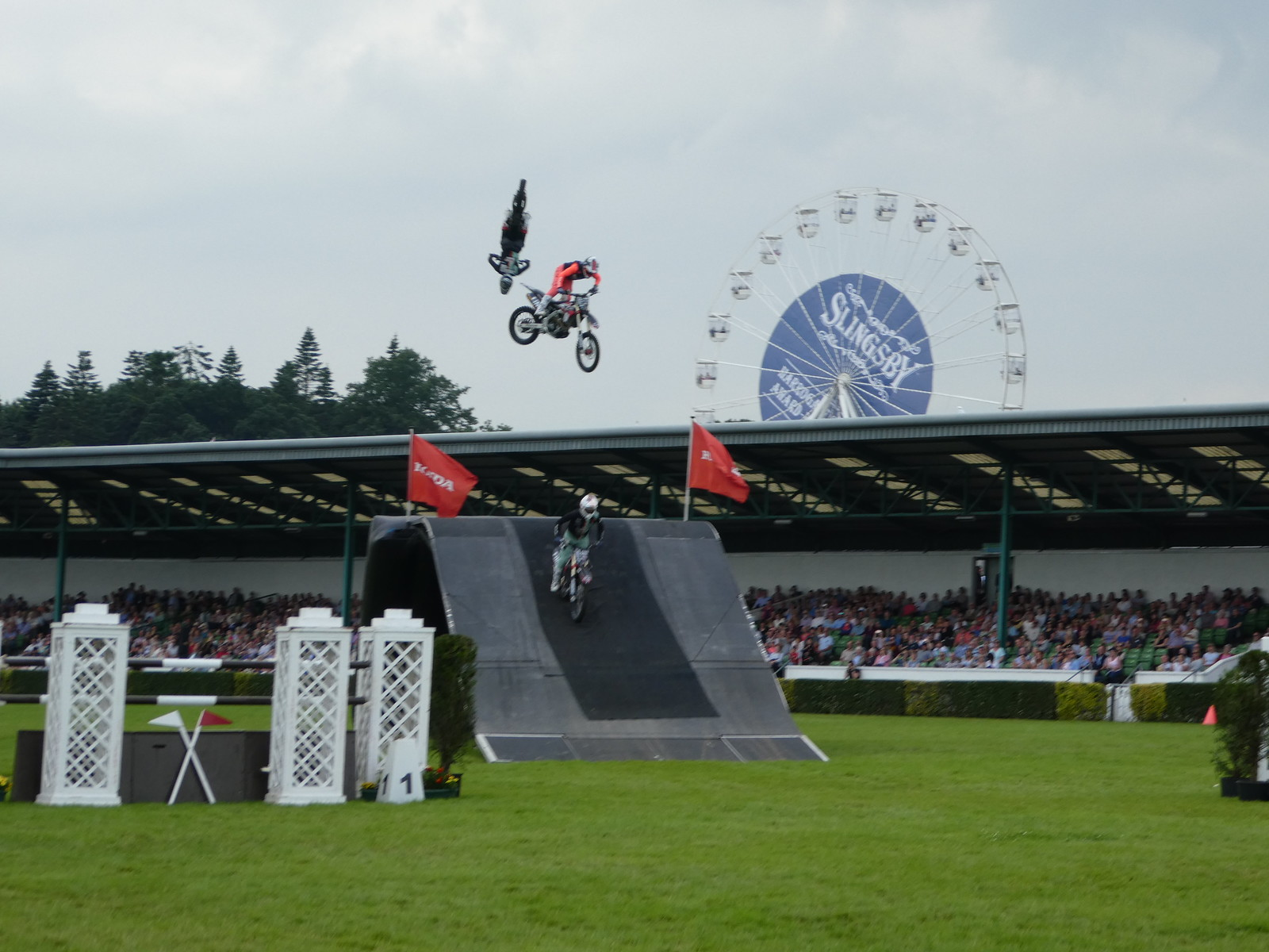 The Bolddog Lings Motorcycle stunt team performing at the Great Yorkshire Show, Harrogate