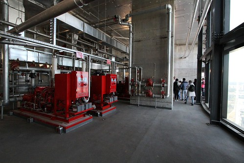 Fire water pumps on the level 42 plant room of Australia 108