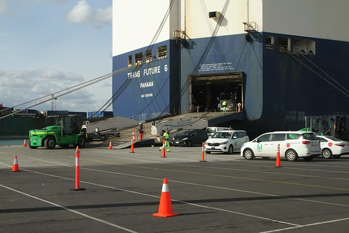 Unloading cars from 'Trans Future 6' at Webb Dock