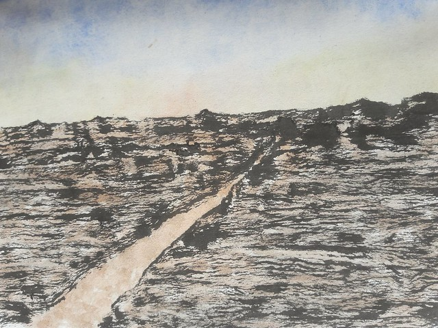 'Illustrations for Poetry'.  On a sunny day An unfinished poem Driven by a longing Gazed the whole landscape Stretching from horizon to horizon Excited by the scent. (Ink and watercolour on paper)