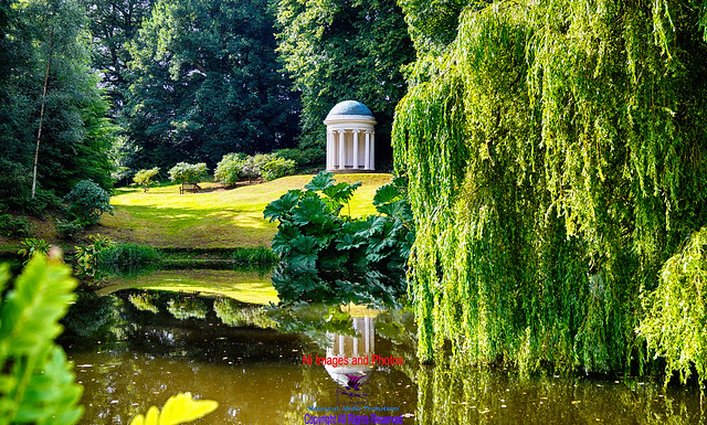 Hillsborough castle gardens Alice's temple lake reflection