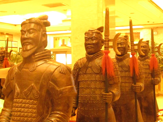 now such sculptures like warriors of the Terracotta Army decorate halls of hotels or their yards