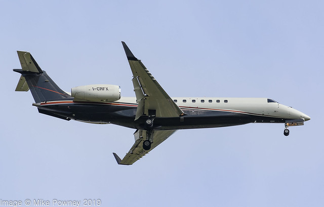 I-CRFX - 2004 build Embraer 135BJ Legacy 600, on approach to Runway 23R  at Manchester