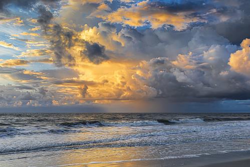 florida jacksonvillebeach sunrise sky clouds ocean shore beach