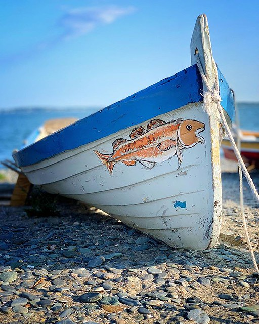 Just for the hull of it! This beauty of a wooden dory, adorned with an orange pained striper, rests on the shores of Pemberton Point, Hull Massachusetts 🚣♀️ 🐠 🌊 🐟 🎣 #igersboston #igersnewengland #dor