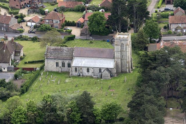 Aerial view of Holy Trinity Church in West Runton - Norfolk UK