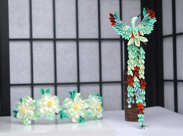 Kingfisher and Water Lily (Lotus) set in custom jade colors. Tsumami Zaiku, handmade kanzashi.