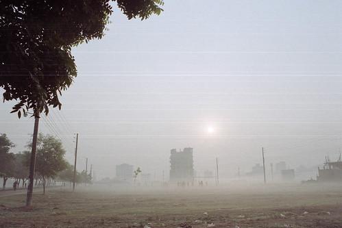 suburbandhaka nikon mist fujicolorc200 nikonfm10 bangladesh ai28mmf35 sports football beautifullight sunrise pacificimageprimefilm3650pro3 dhaka dawn fog analogphotography banasree analog dhakadivision