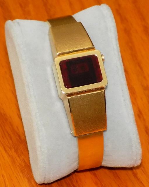 Vintage Croton Ladies Dress Electronic Digital Watch, Red LED Display, Circa 1975 - 1977