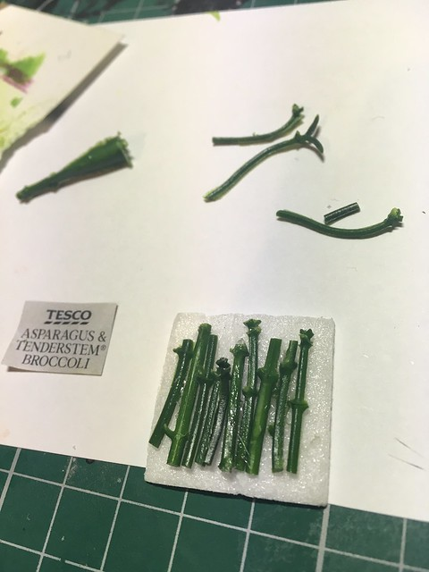 Miniature asparagus- foamboard, image from magazine, artificial foliage and sellotape.