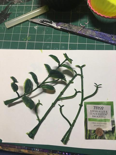 Miniature asparagus- foamboard, image from magazine, artificial foliage and sellotape.