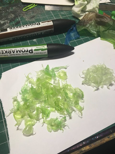 Miniature salad tutorial - Using plastic bags, vinyl gloves, markers, plastic tubing, hot glue sticks, beads, plastic covered paper clips, a bit of paint and some sellotape.