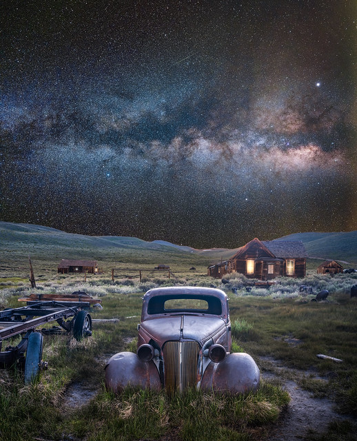 Ghost Car Bodie Ghost Town Milky Way Astro Landscape. Fujifilm GFX 100 Medium Format Mirrorless Camera! Bodie Historic State Park California! Elliot McGucken Fine Art Landscape & Nature Photography! Fujifilm Fujinon GF 23mm f/4 R LM WR for GFX MF